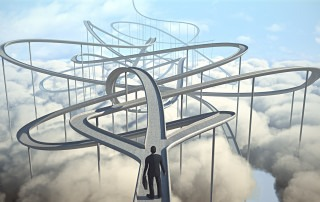 businessman chooses the path strategy 3d illustration